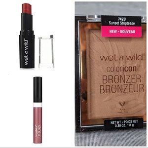 Lot of 3 Wet n Wild Bronzer, Lip colour& Lip gloss
